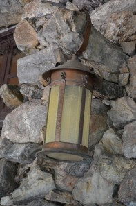 Giant Brass & Art Glass Lamps Outside Grove Park Inn