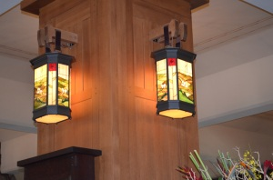 Two of the Beautiful Arts & Crafts Style Lamps Lobby - Grove Park Inn